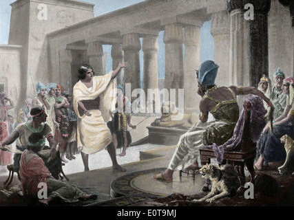 """Joseph Interpretation des Pharaos Traum. Genesis-41:25-26. des 19. Jahrhunderts. Farbige Gravur. """"Historia De La Naciones""""."""