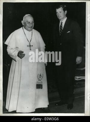 23. Mai 1961 - hat 23.05.61 Präsident Kennedys Bruder Audienz beim Papst. Keystone-Foto zeigt: Papst John XXIII - Stockfoto