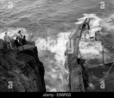 Der FV Jeanne Gougy kenterte in Endland, Cornwall - Stockfoto