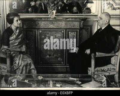 3. März 1966 - erhielt Indira Gandhi von De Gaulle: Indische Premierministerin Indira Gandhi, die heute Morgen In - Stockfoto