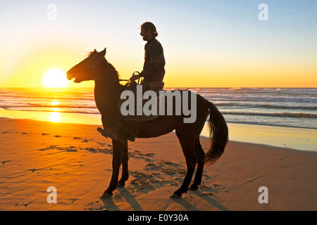 Reiten am Strand bei Sonnenuntergang - Stockfoto