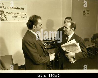 5. März 1973 - sozialistische Partei Sekretär Mitterrand ist einladend kommunistischer Parteisekretär Marchais, - Stockfoto