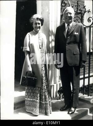 25. Juni 1973 - fordert Mrs Gandhi den Premierminister. Heute fordert Frau Indira Gandhi, der indische Premierminister - Stockfoto
