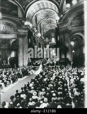 7. Juli 1981 - The Royal Wedding: Gesamtansicht während der Ehe von Prinz Charles und Lady Diana in der Kathedrale von St.Paul es heute. Stockfoto