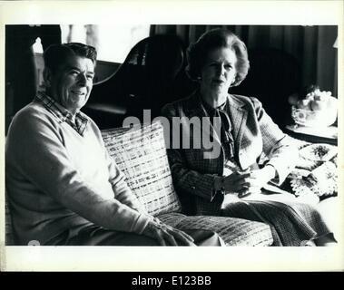 12. Dezember 1984 - Reagan und Thatcher: Präsident Reagan und der britischen Premierministerin Margaret Thatcher - Stockfoto