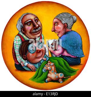 Darstellung der Großmutter lesen Geschichte für Enkel auf Großvaters runden liegen - Stockfoto
