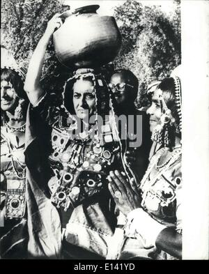 31. März 2012 - Kleid Premierministerin Indira Gandhi tritt im Volkstanz indische Premierminister Frau Indira Gandhi - Stockfoto