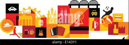 Illustrative Collage aus Deutschland auf weißem Hintergrund - Stockfoto
