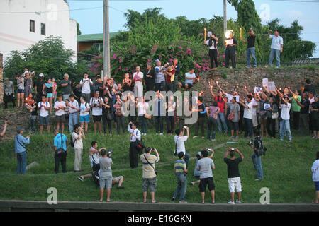 Chiang Mai, Thailand. 24. Mai 2014. Eine Kundgebung gegen den Militärputsch, der am 22. Mai 2014 in Chiang Mai, - Stockfoto
