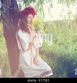 Schönes Porträt von ukrainischen Mädchen - Stockfoto