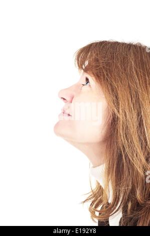 Profil-Bild der weibliche Blick auf weißem Hintergrund - Stockfoto
