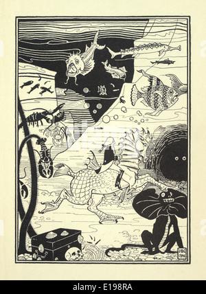 """J. B. Clark Illustration aus """"The überraschende Abenteuer des Baron Münchhausen"""" von Rudoph Raspe veröffentlicht 1895. Fisch"""