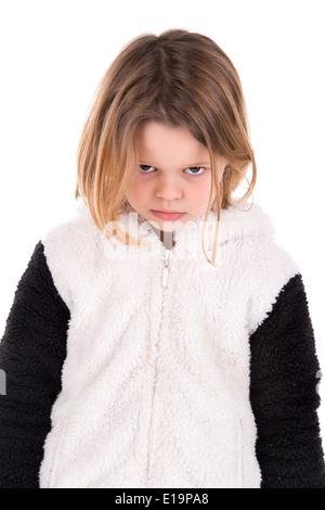 Böse Mädchen in weiß isoliert - Stockfoto