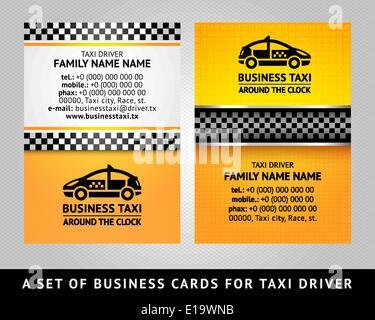 Taxi Visitenkarten Mit Taxi Silhouette Vektor Abbildung