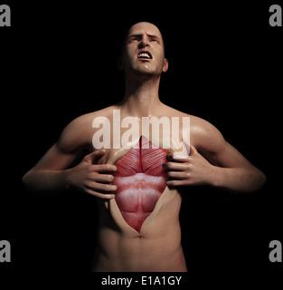 Mann seine Brust aufreißen, um seine Muskulatur zu offenbaren - Stockfoto
