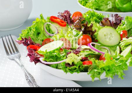 Ein gemischter Salat mit Kopfsalat, Gurken, Tomaten, rote Pepperm und rote Zwiebel.