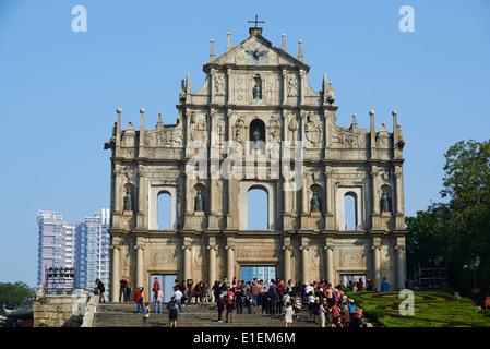 China, Macau, Ruinen der St. Pauls Kirche, Sao Paulo - Stockfoto