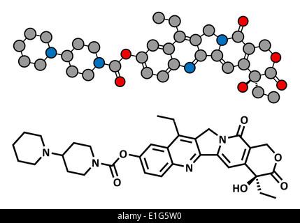 Irinotecan Krebs-Chemotherapie-Medikament, chemische Struktur. Konventionelle Skelettformel und stilisierten Darstellung - Stockfoto