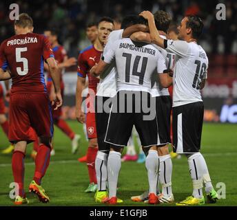 Freundlichen Fußballspiel Tschechien Vs Österreich am 3. Juni 2014 in Olomouc, Tschechische Republik. Österreichische - Stockfoto