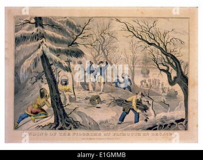Drucken zeigt eine Native Mann, versteckt auf der linken Seite, die Pilger zu beobachten um ein Lagerfeuer mit kleinen - Stockfoto