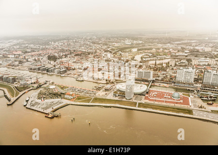 Luftaufnahme der Wasserseite Entwicklung, Bremerhaven, Bremen, Deutschland - Stockfoto