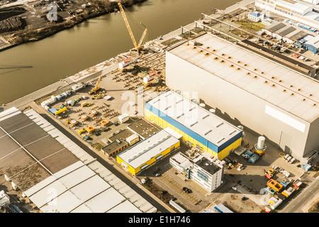 Luftaufnahme des Hafens Industrie, Bremerhaven, Bremen, Deutschland - Stockfoto