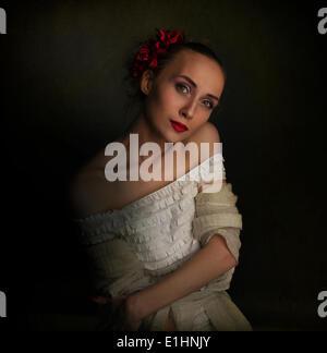 Retro-Vintage-Stil - junge Frau im Mittelalter Kleidung - Stockfoto