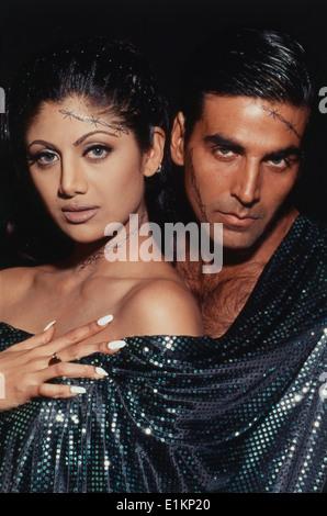 Porträt des Schauspielers Akshay Kumar und Shilpa Shetty indische Schauspielerin - Stockfoto