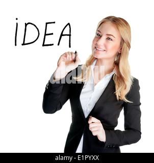 Porträt einer attraktiven Frau schreiben Wort Idee, isoliert auf weißem Hintergrund, modernen Gesellschaft - Stockfoto