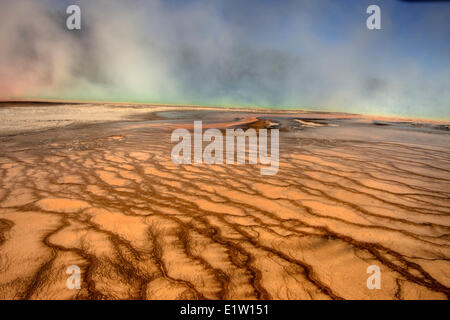 Thermophilen Algen im Grand Prismatic Spring, Midway Geyser Basin, Yellowstone-Nationalpark, Wyoming, USA - Stockfoto