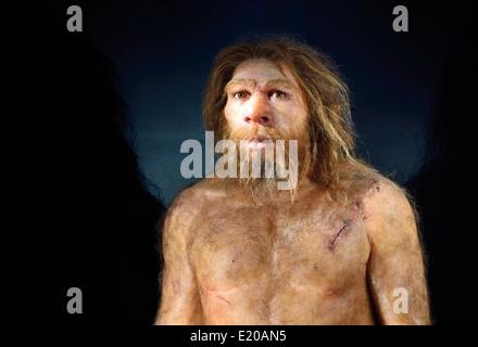 Spanien, Burgos: Homo Neanderthalensis in Museum der menschlichen Evolution - Stockfoto
