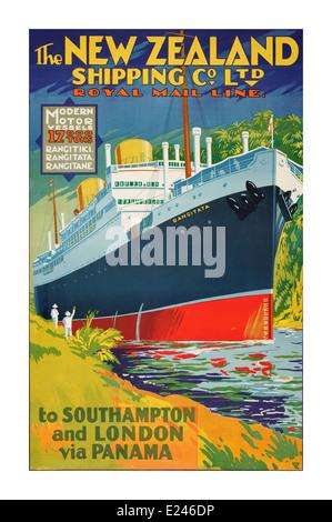 "Plakat-Vintage Retro-1930 Kreuzfahrtschiff ""Rangitata"" Navigieren in Panama-Kanal unterwegs Southampton-London - Stockfoto"