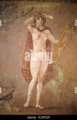 Römische Kunst, hermaphroditus, Fresko Fragment des 2. Jahrhunderts, Barracco Museum, Rom - Stockfoto