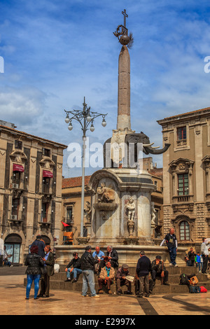 Catania, Fontana dell'Elefante - Stockfoto
