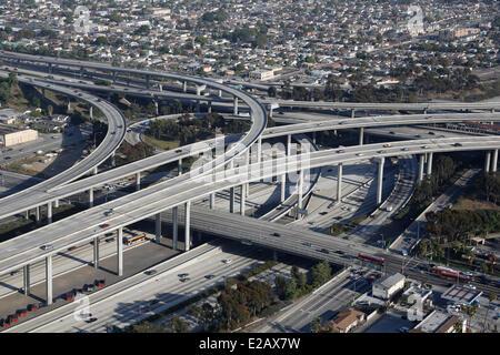 USA, California, Los Angeles, Autobahnen Kreuzung (Luftbild) - Stockfoto