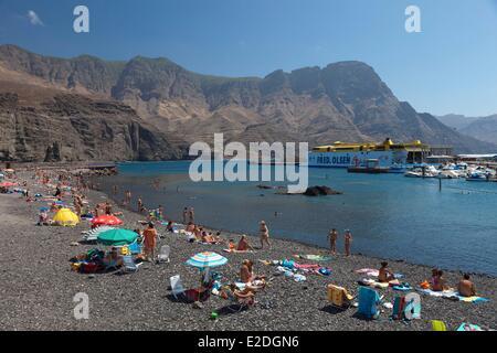 Spanien, Kanarische Inseln, Gran Canaria, Puerto de Las Nieves, Kiesstrand - Stockfoto
