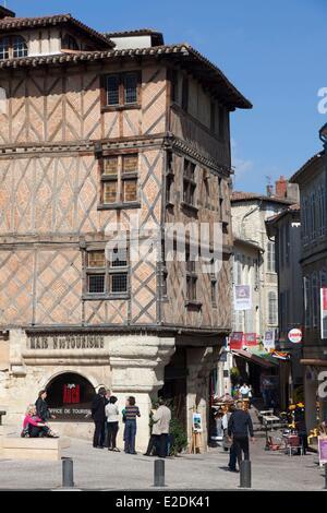 Frankreich, Gers, Auch, stoppen auf el Camino de Santiago, Haus mit Colombages (Holzkonstruktion), Leiter des Amtes - Stockfoto