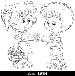Kleine Mädchen und jungen am Ostersonntag - Stockfoto