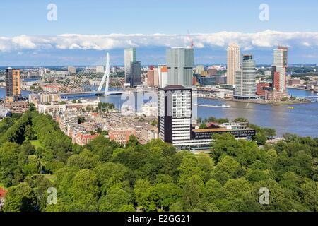 Rotterdam Niederlande Südholland Ansicht Euromast park Het Park neue Maas und Southbank (Hotel New York eröffnete - Stockfoto