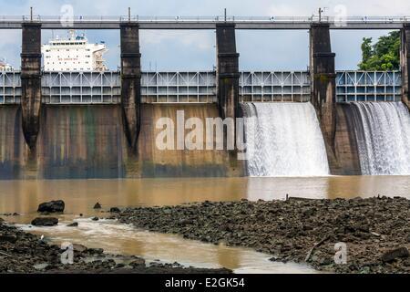 Panama-Panama-Kanal-Miraflores sperrt dam und Miraflores See Wasserkraft zwischen 1907 und 1913 bebaut - Stockfoto