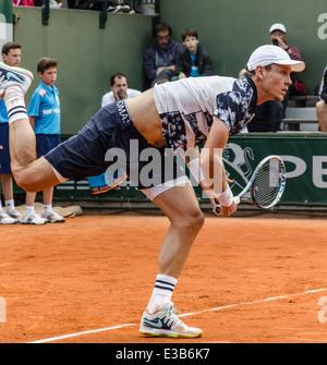 Paris, Frankreich - 30. Mai 2014: Tomas Berdych bei French Open, Roland Garros 2014 - Stockfoto