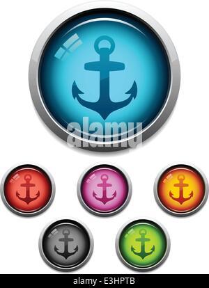 Glänzende Anker Schaltflächensymbol festlegen in 6 Farben - Stockfoto