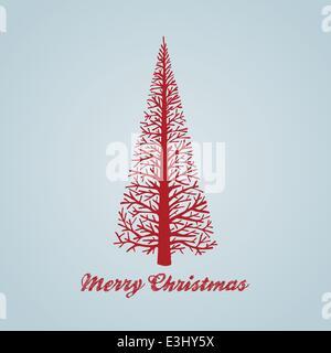 Handgezeichnete Weihnachtsbaum Design mit Skripttext - Stockfoto