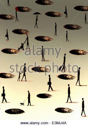 Menschen, die zu Fuß durch Löcher im Boden - Stockfoto