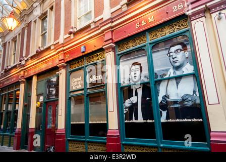 S & M, große britische Grub Cafe Leadenhall Market, London, Großbritannien. - Stockfoto
