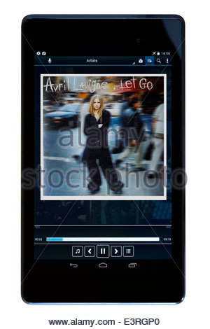 Avril Lavigne loslassen MP3 Album-Cover auf PC Tablet, England - Stockfoto