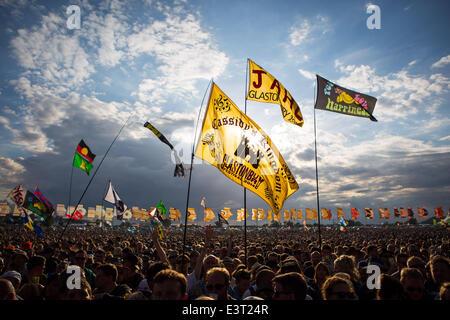 Glastonbury, Somerset, UK. 28. Juni 2014. Musik-Fans genießen das Glastonbury Festival in Somerset. 28. Juni 2014. - Stockfoto