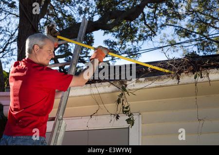Reifer Mann Reinigung Haus Dachrinnen, USA - Stockfoto