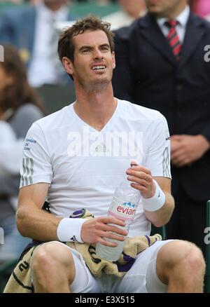London, London, UK. 30. Juni 2014. Großbritanniens Andy Murray reagiert in den Männern Singles vierten Vorrundenspiel - Stockfoto