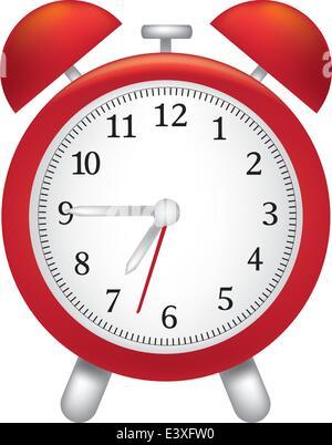 Abbildung von einem leuchtend roten Wecker - Stockfoto